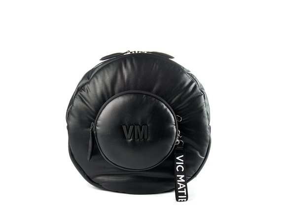 Amneris<br />Round black faux leather backpack