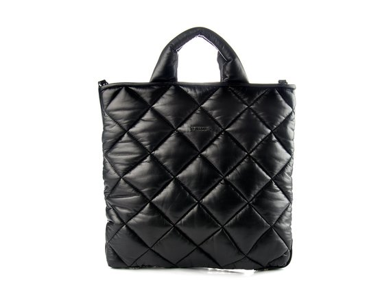 Gaia<br />Quilted black leather shopper bag