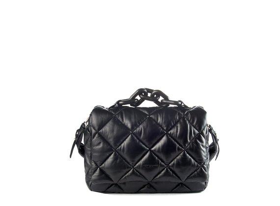 Jacqueline<br />Black quilted leather satchel