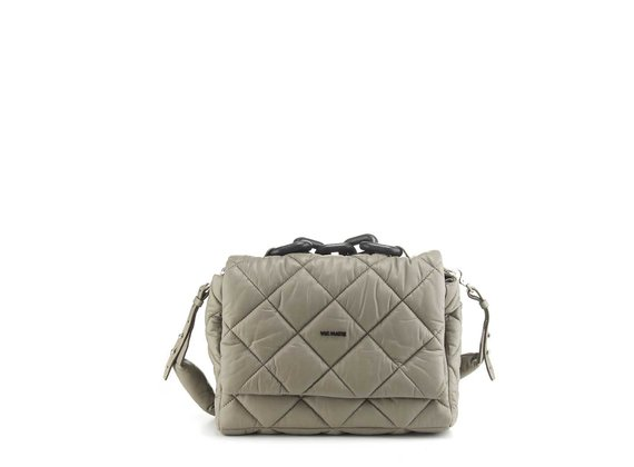 Jacqueline<br />Dove-grey quilted leather satchel