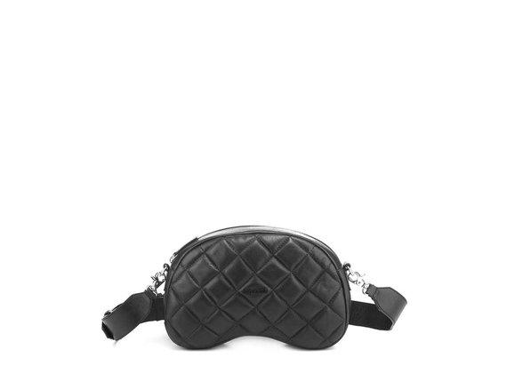 Babs Big T<br />Quilted black leather shoulder bag
