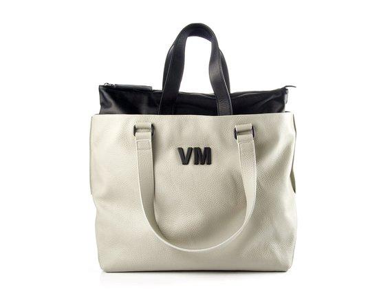 Agathe I21<br />Large ice-white/black leather shopper bag
