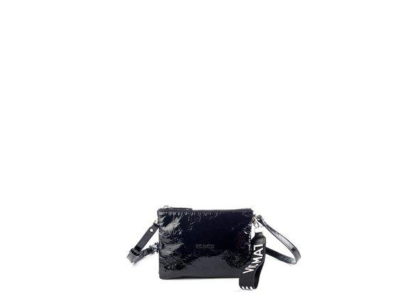 Elita<br />Elita<br />Double pouch bag in black patent leather
