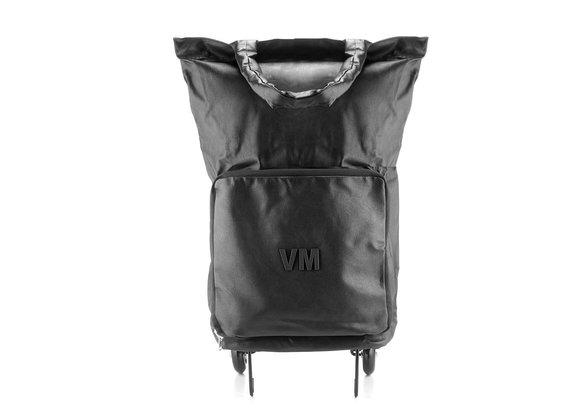Vania<br />Black faux leather trolley bag