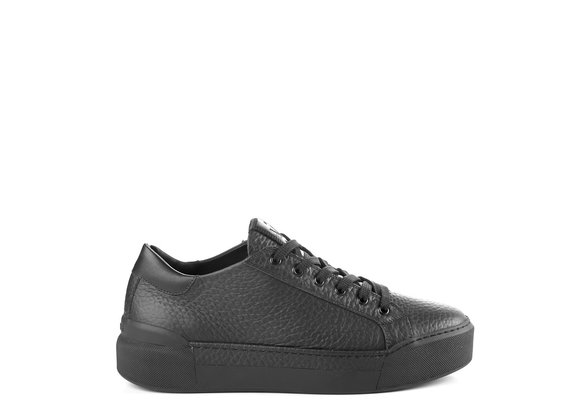 Men's black leather lace-up trainers