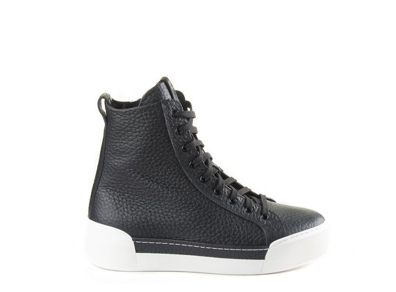 Men's black leather high-top trainers with white sole