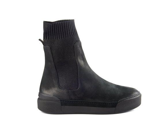 Men's black high-top trainers in nubuck/knit fabric - Black