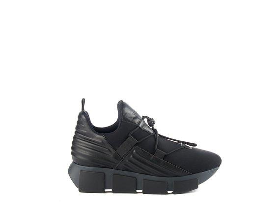 Black neoprene running trainers - Noir