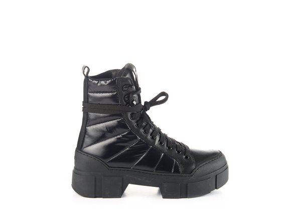 Black calfskin/nylon combat boots with lugged sole - Black