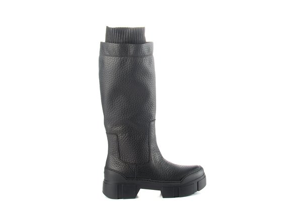 Black leather tube boot with cuff and lugged sole