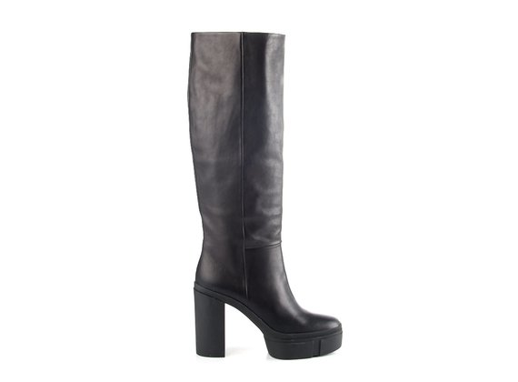 Dove-grey leather tube boots with rubber platform