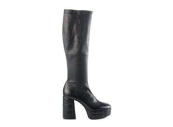 Stiefel mit Plateausohle und Maxi-Absatz aus schwarzem Leder
