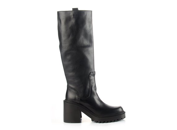 Black calfskin tube boots with lugged sole