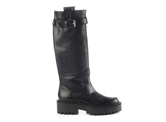 Roccia-sole tube boots in black calfskin