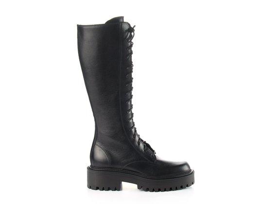 High Roccia-sole combat boots in black calfskin