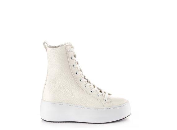 sneakers platform polacco in pelle con grana grossa bianca