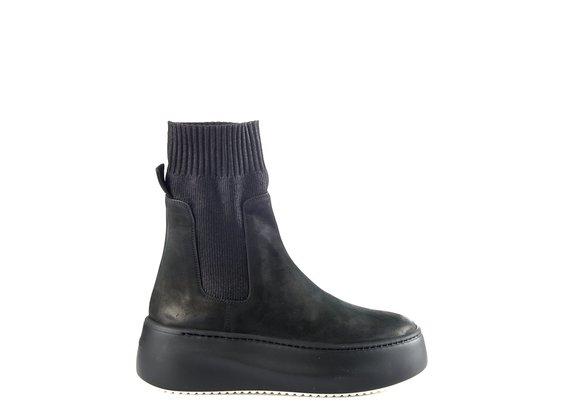 sneakers platform tronchetto in nabuk/knit nero
