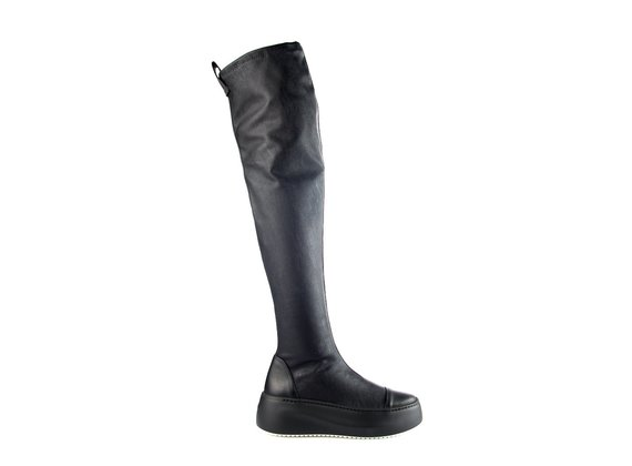 Thigh-high platform boots in black leather/faux leather