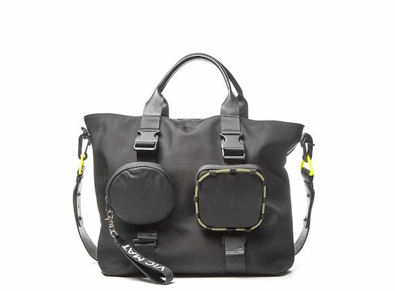 Beth<br />Black shopping bag with removable pockets