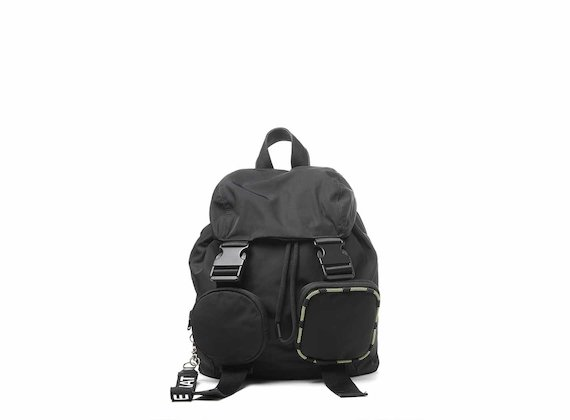Becky<br />Black backpack with removable pockets