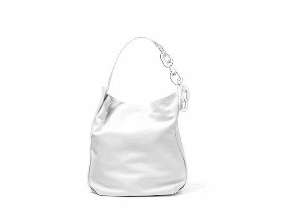 Hoshi<br />White bucket bag with plexiglass strap