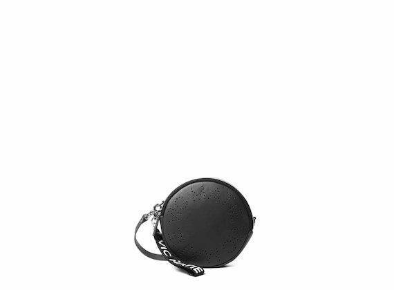 Noriko<br />Sac rond noir avec logo perforé