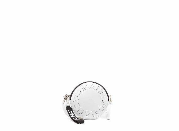 Noriko<br />Borsa disco con logo traforato bianca