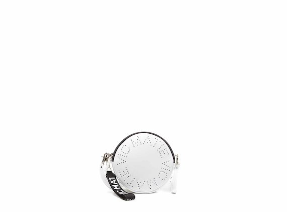 Noriko<br />Sac rond blanc avec logo perforé