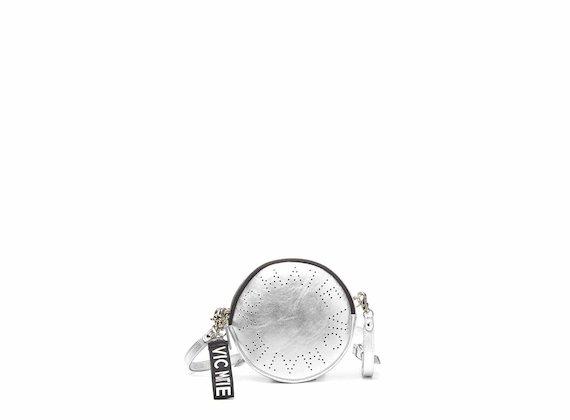 Noriko<br />Sac rond argenté avec logo perforé - Argent