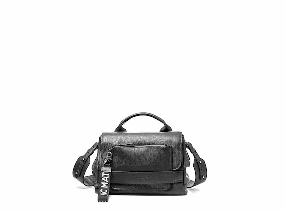 Uma<br />Supple black satchel bag with pocket