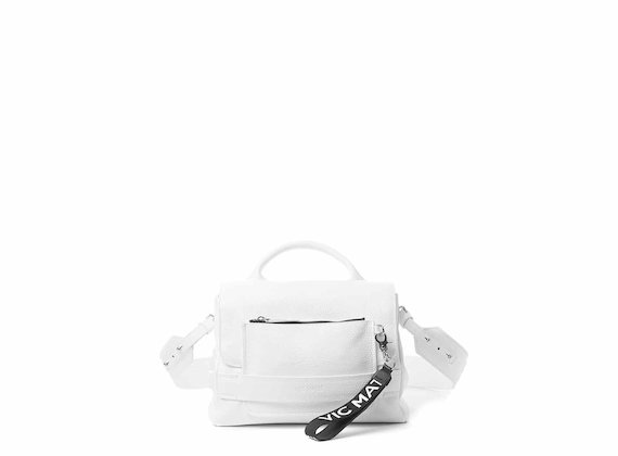 Uma<br />Supple white satchel bag with pocket