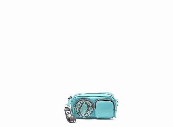 Kaila<br />Weiße-türkisfarbene Mini-Tasche mit Maxi-Taschen