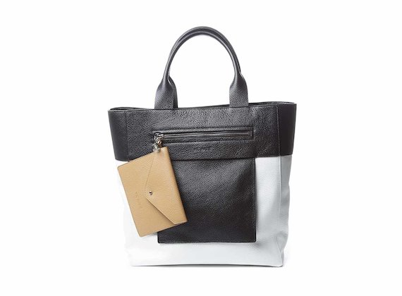 Berty<br />White shopping bag with removable pouch - White / Black
