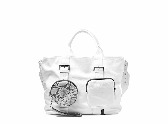 Beth<br />White shopping bag with removable pouches