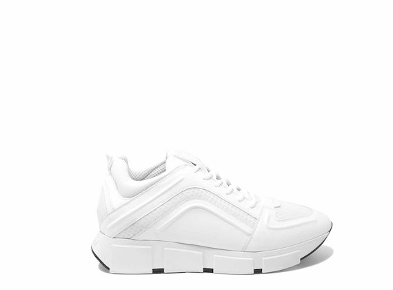 Total white running shoes with raised 3D detail