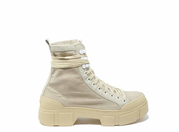 Beige cotton combat boots with lug soles