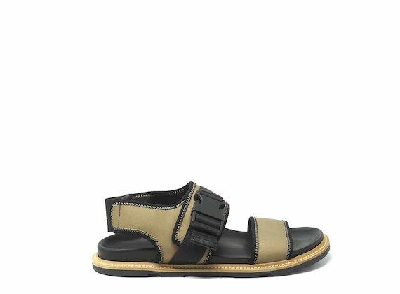 Sandalo con chiusura tecnica beige