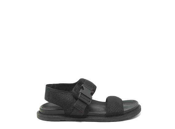 Black mesh sandals with clip fastening