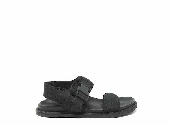 Sandales en maille avec fermeture technique noire