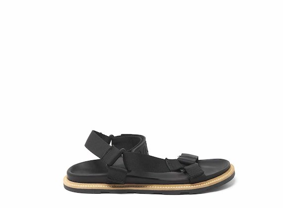 Black rubber sandals with strap