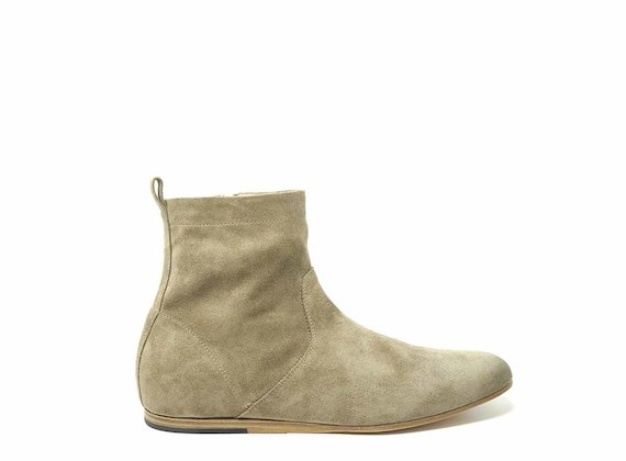 Bottines en daim gris colombe