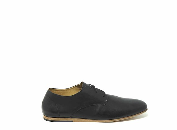 Black leather derbies