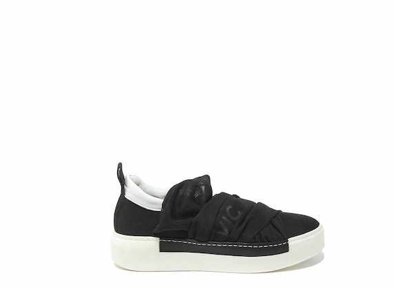 Draped-effect slip-ons in black mesh