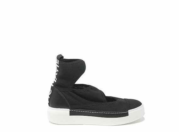 Black sock shoes with cut-outs - Black