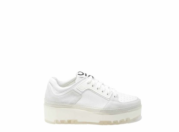 White trainers with see-through sole