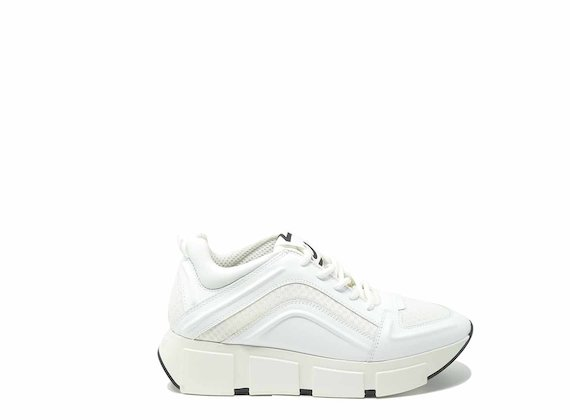 White running shoes with raised 3D detail