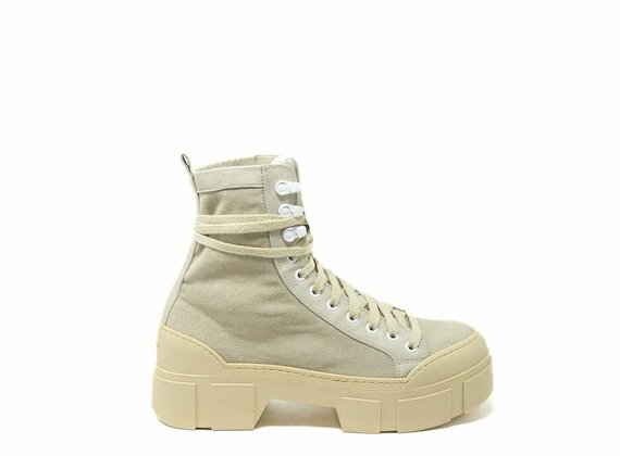 Cotton combat boots with lug sole