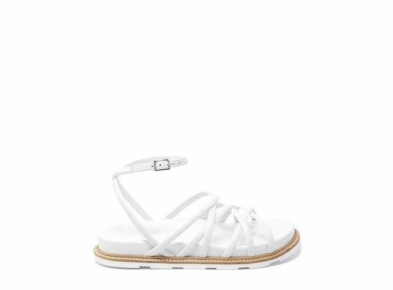 Sandalo bianco con mignon intrecciati