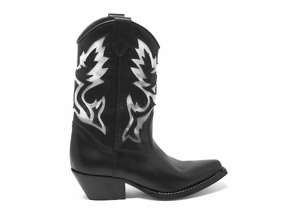 Black cowboy boots with mesh inserts