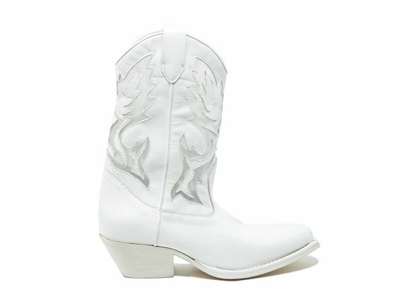 White cowboy boots with mesh inserts